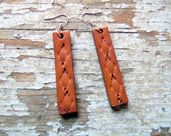 Handmade Leather Dangle Earrings, Amish Leather Earrings, Boho Earrings, Rustic Earrings, Western Earrings, Cowgirl Jewelry, Western Jewelry