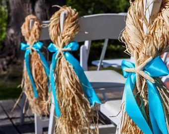 Wedding decor, Starfish chair hangers. Raffia beach wedding set of 10 . Made by a stay at home veteran.