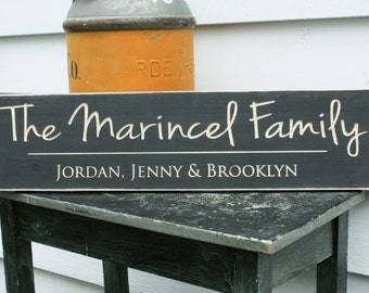 Script Last Name Sign with Family First Names Personalized Customizable Wooden Sign - 8x30 Carved Handpainted Rustic Wooden Sign