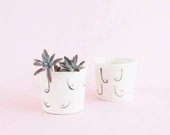 Sheila Boobs big mug or small planter - ceramic cup for tea, coffee and indoor or outdoor house plants