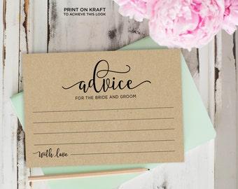 Advice Cards, Wedding Advice Template, Advice Printable, Advice for Bride and Groom | No. EDN 5128A
