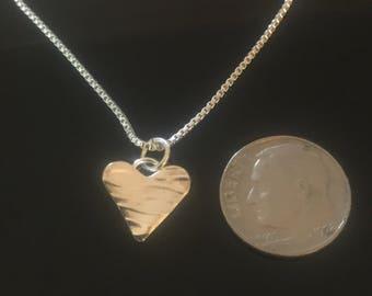 Tiny Heart pendant in Fine Silver, on Sterling Silver Box Chain FREE Fast Shipping.