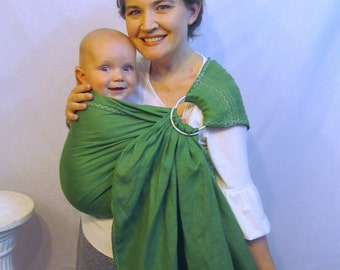 Linen Baby pure linen Ring Sling - decorative stitching - 100% LINEN in Greenery, Leaf Green - DVD included, summer, baby shower gift