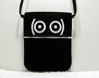 Emoticon Small Purse Crossbody Strap - Embroidered Emoticon Geek Shoulder Bag - Black Twill Cross Body Purse - Geekery - Seriously, Really