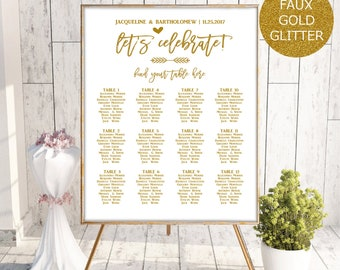 Gold Wedding Seating Chart Template, Seating Chart Printable, Seating Board, Editable Seating Chart, Seating Poster, Seating sign