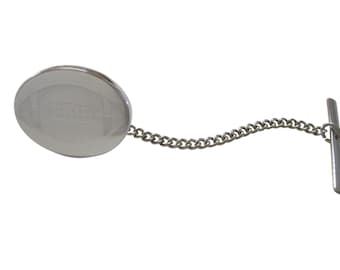 Silver Toned Etched Oval Football Tie Tack