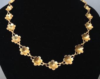 Gold Tone Flower Garland Necklace