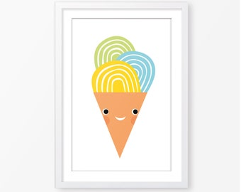 Ice cream kids poster,nursery wall art,digital kids poster,instant download,neutral gender,kids room decor,baby poster,nursery wall art