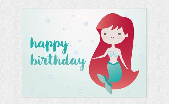 Little Mermaid Kawaii Happy Birthdays Card Pdf Diy