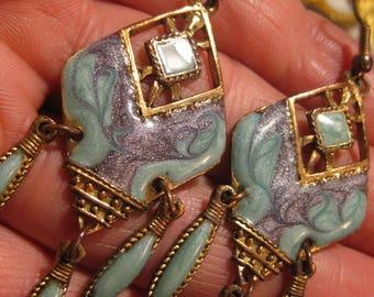 Vintage türkis Ohrringe Alte Ohrstecker Turkis Farbe Messing Ohrstecker Designer Modernist German Schmuck Trachten Ohrringe Bavaria