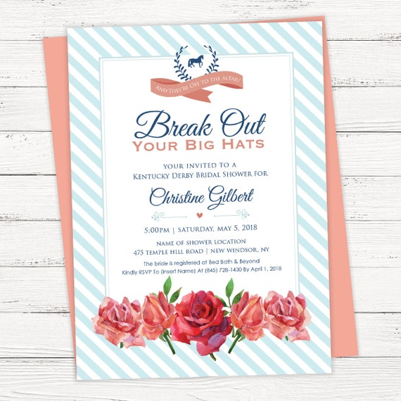 Kentucky Derby Bridal Shower Invitation INSTANT DOWNLOAD
