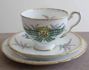 Campbell Scottish Tartan Series Trio Teacup, Saucer and Dessert Plate Made in England by Royal Staffordshire 1950's Vintage