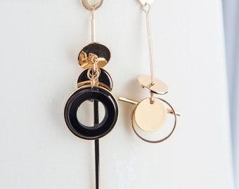 Bar earrings, asymmetrical boho earrings, dainty gold circle black earrings, dangle bar asymmetrical earrings golden boho gift for her