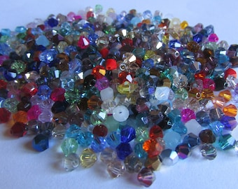 150 Mixed Lot 4mm Glass Crystal Bicone Beads - 4mm Bicone Spacer Beads - Assorted Colors - Jewelry Making-Grab Bag