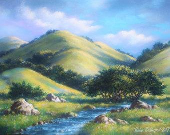 Half Moon Bay Hills. California Landscape. California Wall Art. Art of California. Paintings of California