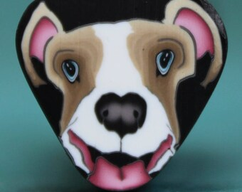 Small PIT BULL/ BOXER Polymer Clay Dog Cane -'Puppy Love' (29E)