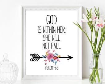 God is Within Her, She Will Not Fall Printable Wall Art 8x10, 5x7, 11x14, Bible Verse Printable, Psalm 46 5 Print, Psalm 46 5 Sign
