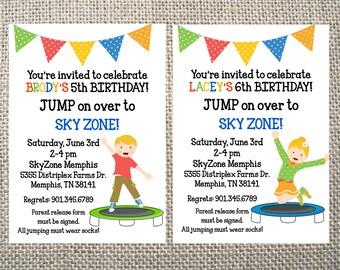 Printable Trampoline Park Party Invite Jumping Invite Sky