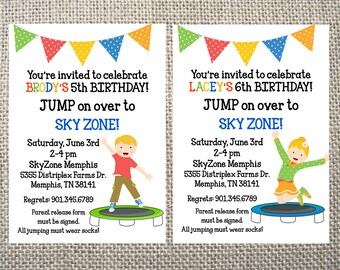 Trampoline Park Birthday Party Thank You Tags Stickers