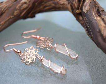 Clear Quartz Rose Gold Floral Earrings