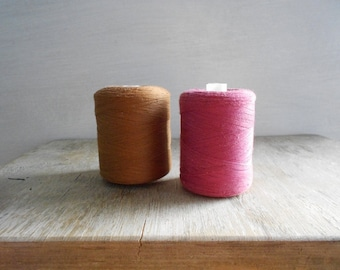 Vintage Sewing Thread Spools / Set of 2 / Brown - Burgundy / Soviet Union Cotton Threads