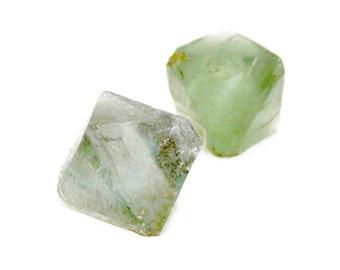 Fluorite Octahedron Crystal Stones (2 pieces) - Raw Fluorite - Green Fluorite - Healing Crystal - Raw Gemstones