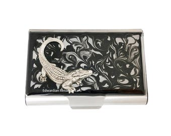 Crocodile Large Business Card Case Antique Silver Embellished on Hand Painted Enamel in Black Ink Swirl Design Personalized Option Available