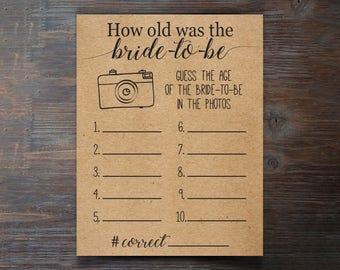 How Old Was The Bride-To-Be Game . Rustic, Barn Wedding Bridal Shower Game . Wedding Shower Printable Game . Guess Age . Instant Download .
