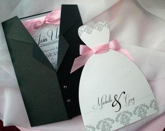 All Dressed Up Wedding Invitation Set, Tuxedo Wedding Dress Invitation Set, Damask Wedding Invitation, Lace Wedding Gown Invitation, Sample