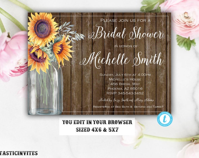 Rustic Bridal Shower Invitation, Rustic Invitation, Template, Bridal Shower Template, Bridal Shower Invitation, DIY, You Edit, Bridal Invite