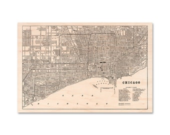 "Chicago Map on Wood, 20 x 30"" maple wood map, Chicago Wall Art City Map"