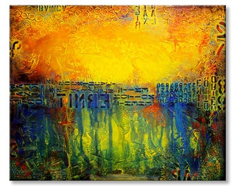 31x38 ORIGINAL Abstract Textured Painting Urban Modern Acrylic Colorful Fine Art by Maria Farias