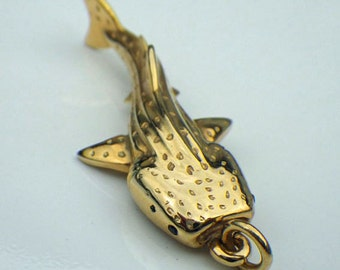 Whale Shark pendant, gold and sapphire large whale shark necklace, diving jewelry.