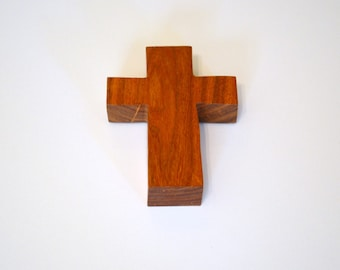 """Wood Wall Cross; Hand Held-3""""x5""""x1""""; Handmade Crooked Cross;Made in Texas; Mesquite Wood; Christian Gift; Free Ground Shipping; cc5-3010417"""