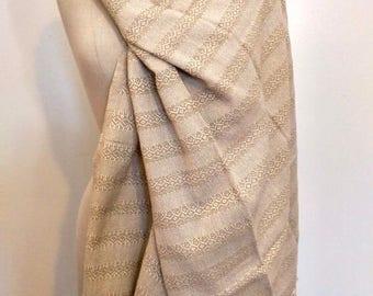 Mexican Rebozo Algodon Labrado Cotton Beige Natural White Shawl Wrap Runner Ikat