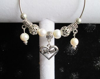 "Ivory Freshwater Pearl and Silver Beaded ""Mom"" Bangle Bracelet #1"