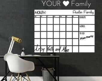 Dry Erase monthly Calendar Decal, Whiteboard monthly planner decal, Dry Erase Wall Calendar decal, Classroom desk chalkboard wall calendar