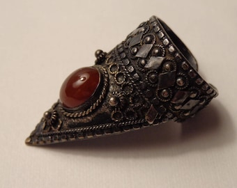 Midieval Style Sterling Silver and Carnelian Finger Tip Ring - size 8 (can be adjusted larger)