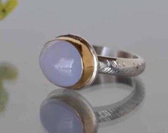 Chalcedony Ring in Gold and Silver, Blue Chalcedony Cocktail Ring- Chalcedony Statement Ring, Lavender Stone, Size 6 Ring, Gift for Her