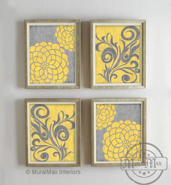 Yellow and Gray Dahlia Flower Artwork Set of 4 Wall Art