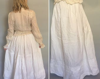 Xs/Small antique edwardian white cotton skirt petticoat