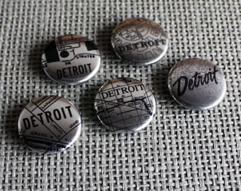Metallic Detroit Map Magnets - Set of Two