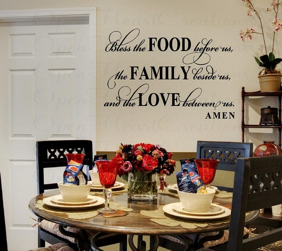 Bless this food before us wall decal dining room meal prayer sxxofo
