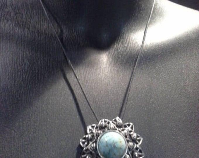 Vintage Goldcrest Turquoise Cabochon & Antiqued Silver Modernist Flower Pendant Necklace Brooch Scarf Pin Stamped