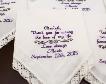 Fiance Mom Embroidered Wedding Handkerchief Gift for Mother In-Law Mother of the Groom Gift