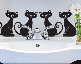 Cat Decal for Cars, Bathroom, Kitty Cat Birthday Party or Bedroom Decor, Pet Wall Decal, Animal Wall Decal, Black Cats  (177a4v)