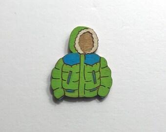 Green Puffy Coat Lapel Pin // Hand Painted // Reclaimed Wood // Lasercut