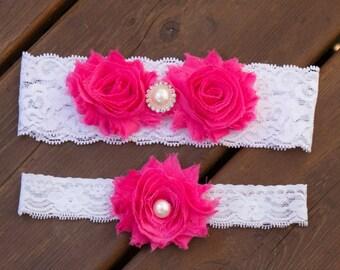 HotPink Wedding Garter Set, Lace Wedding Garter Set, Bridal Garter Set, Flower Garter Set, Vintage Garter Set, Shabby Chic Garter