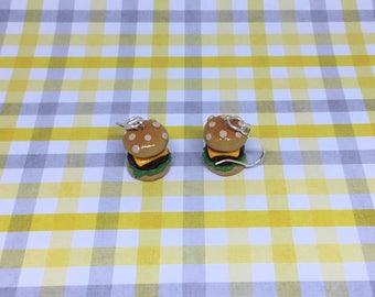 Burger Earrings, Hamburgers, Cheeseburgers, Food Charms, Food Earrings, Food Jewelry, Polymer Clay, Handmade, Cheeseburger Earrings