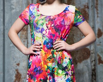Swing Dress in Watercolour Digital Print Jersey by Get Crooked